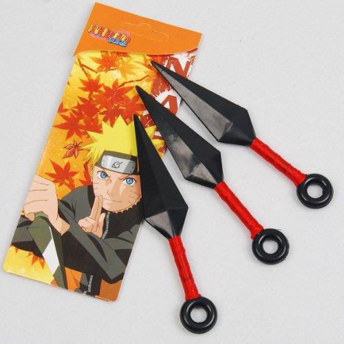 Set Of 3 Red Throwing Knives Kunai Naruto Cosplay