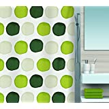 Spirella 10.15182 Shower Curtain 180 x 200 cm DV Textile Leafy Green