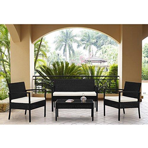 Complete Compact Outdoor/Indoor 4 Piece Rattan Wicker Coffee Table Garden Patio Furniture Set, Black with Cream Cushions