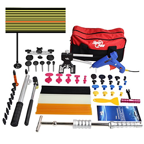 FLY5D® 65Pcs Auto Body Paintless Dent Removal Repair Tools Kits Silde Hammer Dent Lifter Glue Puller Sets with Tool Bag (Auto Repair Tool Kit compare prices)