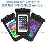 Universal Waterproof Case for iPhone 6S, 6, 6 Plus, SE, 5S, Galaxy S6, S5, Note 5, LG G5, Premium Quality Best Water Proof, Dustproof, Snowproof Pouch Bag Includes Armband + Compass + Lanyard (Black)