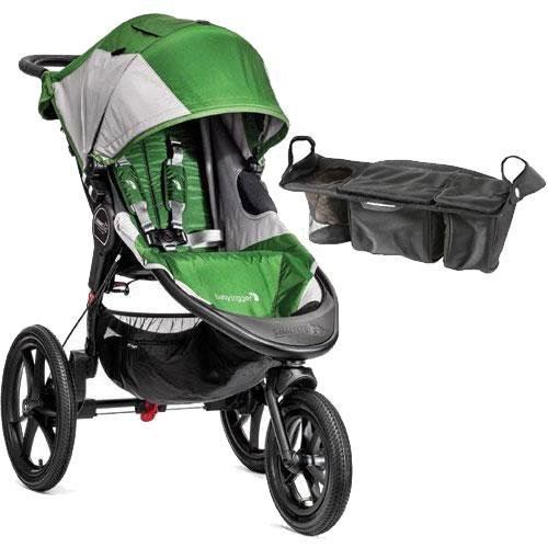Baby-Jogger-Summit-X3-Single-Jogging-Stroller-with-Parent-Console-Green-Gray