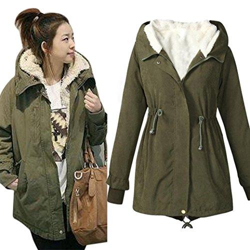 """Elegante Moda, Reasoncool Donne Parka con cappuccio in pile Womens Top cappotto lungo caldo del rivestimento (4XL-Busto:51.2"""", Esercito Verde)"""