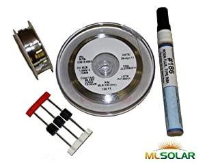 120' Solar Tabbing Wire 10' Bus Wire, Flux Pen 3 Diodes by Ml Solar
