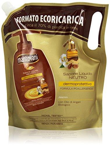 Mantovani - Sapone Liquido Neutro, Ecoricarica, con Olio di Argan Biologico, 750 ml