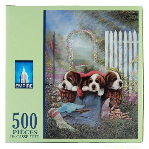 Puzzle Makers 61010-017 500-Piece Puzzle Cute and Cozy Dogs in Basket