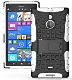 JKase DIABLO Tough Rugged Dual Layer Protection Case Cover with Build in Stand for Nokia Lumia 1520 (White)
