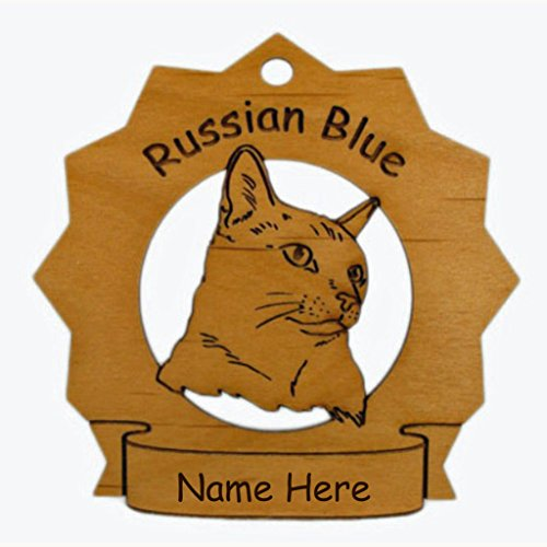 7339 Russian Blue Cat Head Ornament Personalized with Your Cat's Name (Russian Blue Cat Ornament compare prices)