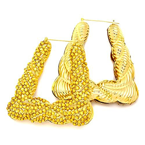 Basketball Wives Bamboo 18K Yellow Gold Plated Hip Hop Ladies Hoop Earring With Yellow Cz Cubic Zirconia