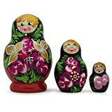 """3.5"""" Set Of Flowers On Black And Red Dress Russian Nesting Dolls"""