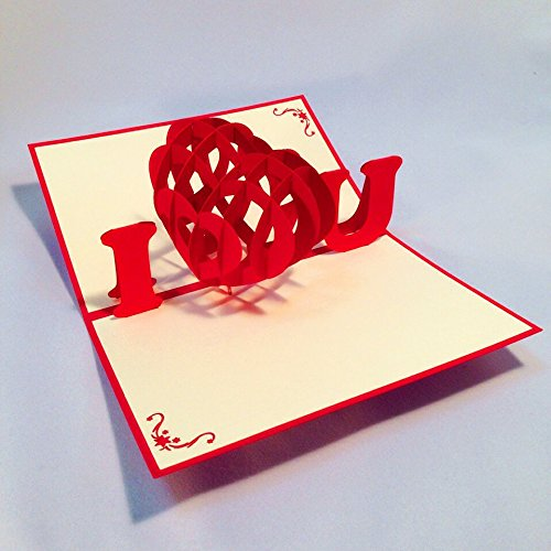 立体ポップアップ グリーティングカード: ハート、I LOVE YOU、誕生日、出産、結婚式、母の日、父の日、バレンタインデー、ホワイトデー、クリスマスなどのお祝いへのメッセージカード