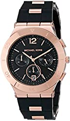 Michael Kors MK6173 Women's Wyatt Black, Rose Gold Stainless Steel Band with Black Dial Watch