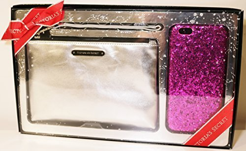 victorias-secret-party-perfect-duo-set-wristlet-and-hard-case-iphone-6-silver-hot-pink-glitter