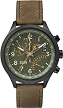 Timex Men's Quartz Watch with Green Dial Analogue Display and Green Leather Strap T2P381AU
