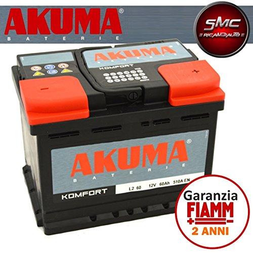 BATTERIA-AUTO-AKUMA-by-FIAMM-cod-L260-KOMFORT-60Ah-510A-Polo-Positivo-a-Destra