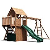 Dunster House BalconyFort Searcher Wooden Children's Outdoor Climbing Frame Play Tower with Monkey Bars, Swings & Slide - Pressure Treated Timber