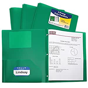 C-Line Two-Pocket Heavyweight Poly Portfolio with Prongs, For Letter Size Papers, Includes Business Card Slot, 1 Case of 25 Portfolios, Green (33963)