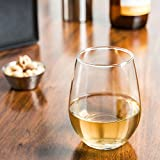 Circleware Symphony Stemless White Wine Glass Drinking Glasses Set, 20 Ounce, Set of 4, Limited Edition Glassware Serveware Drinkware Barware Glass Cups Set