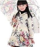 花柄 レインコート 小学生 130 XL ~ XXL 兼用 ヘアピンセット 子供用 女の子 合羽 【XXL】