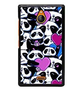 printtech Panda Heart Cute Gift Back Case Cover for Nokia X2 Dual SIM