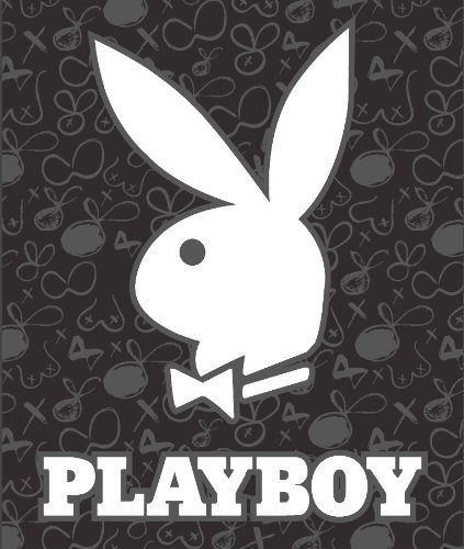 Playboy White on Gray/Black Med Weight Faux FurTM Blanket