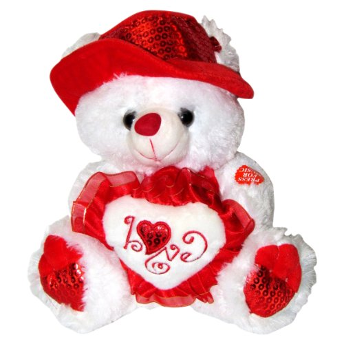 "Musical ""I Love You"" Teddy Bear with Red Hat (11"") Plays ""The Love Song"" - Best Valentine's Day Gifts: Valentines Day Gifts for Her, Valentines Day Gifts for Him, Valentines Day Gifts for Girlfriend, Valentines Day Gifts for Boyfriend, Valentines Day Gifts for Men, Valentines Day Gifts for Husband, Valentines Day Gifts for Wife, Valentines Day Gifts for Women - 1"
