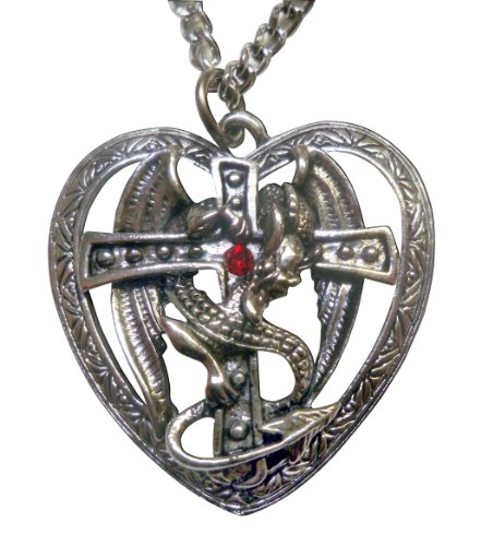 Mystical Gothic Dragon Surrounding Cross in Heart Pewter Pendant Necklace Fashion Jewelry