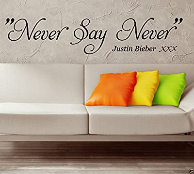 HUANYI NEVER SAY NEVER Justin Bieber Wall Sticker WALL QUOTE WALL ART