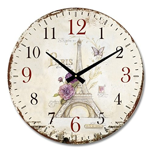 iCasso 14 Retro Vintage Eiffel Tower French Country Tuscan Style Non-Ticking Silent Wood Wall Clock Wooden Wall Art Decor