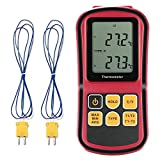 GoerTek Digital Thermometer Bi-channel Input LCD Blacklight with Two K-type thermocouple the Current Measurement Hold for J/K/T/E/N/R Type Thermocouples to Directly Contact with the Measured