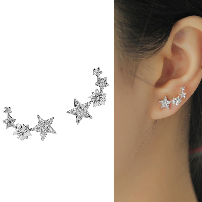 CIShop Star Zircon Diamond Stud Earrings Ear Wire Ear Cuff Earring 1Pair (hypoallergic)