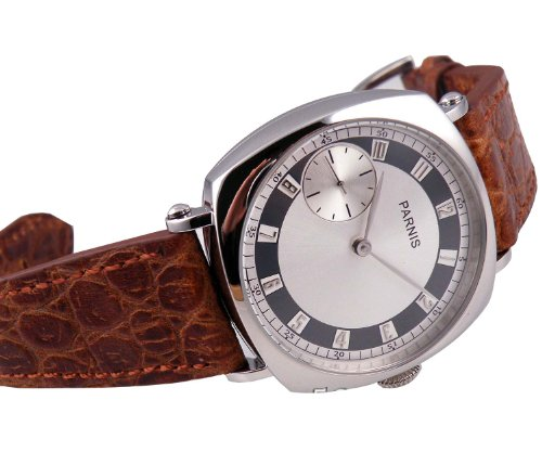 Parnis 17 Jewels Movement Polished Case Hand Winding Seagull 3600 Mens Womens Brown Leather Watch