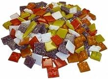 Cristal Mosaico ~1450 Piedras Mosaico 1x1cm 1000g Mezcla Amarillo Naranja Rojo