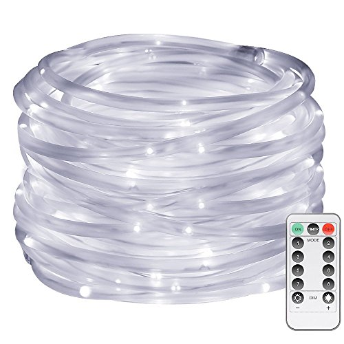 LE LED Dimmable Rope Lights, Battery Powered 33ft 120 LEDs 8 Modes with Timer, Waterproof String Lights for Garden Patio Party Christmas Thanksgiving Outdoor Decoration, Daylight White