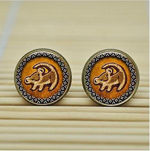 [Lion King Simba Rafiki totoro Earrings Studs jewelry glass Cabochon Earrings Post (Bronze)] (Rafiki And Simba Halloween Costume)