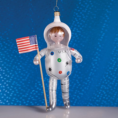 De Carlini Astronaut Man on the Moon Italian Mouthblown Glass Christmas Ornamenta
