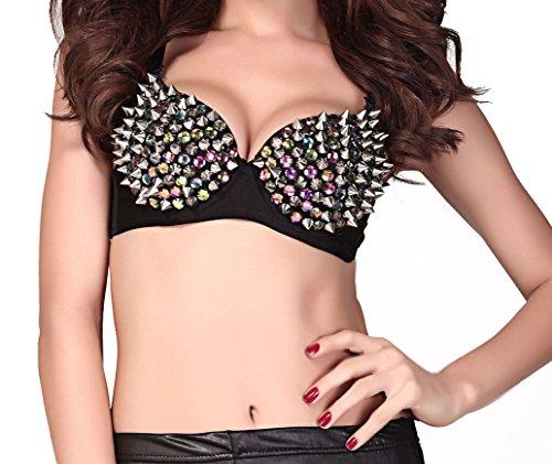Sexy-Elements - se25146 - Sexy GoGo BH mit silbernen Nieten und bunten Edelsteinimitaten
