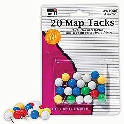 Charles Leonard CHL21238BN Map Tacks, Asst. Colors, Pack Of 20, 12 Packs/CT