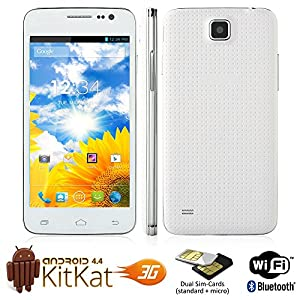 New G900 Android 4.4 Dual SIM WiFi Bluetooth Unlocked GSM 3G Smartphone (White)