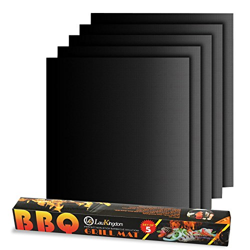 LauKingdom Non-Stick, Reusable and Heat Resistant BBQ Grill Mat, Set of 5