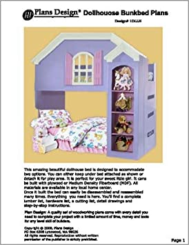 Children's Dollhouse Loftbunk Bed Woodworking Plans