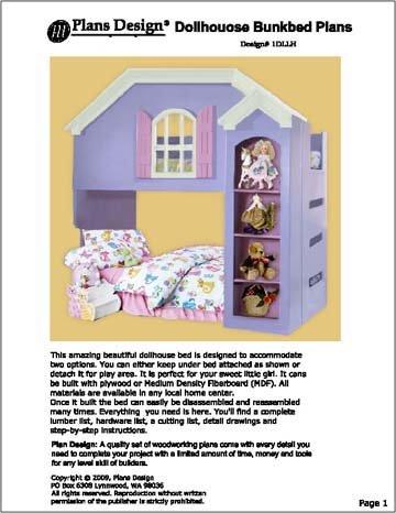 children dollhouse loftbunk bed woodworking plans