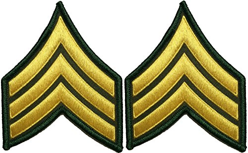 Set 2 U.S. Army Sergeant E-5 Stripes Army Uniform Chevrons Rank Sew on Iron on Arms Shoulder Embroidered Applique Patch - Gold on Green - By Ranger Return (RR-IRON-SERG-E503-GRGL-SET2) (Uniform Numbers compare prices)