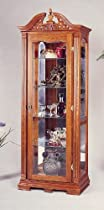 Hot Sale Chippendale Style Solid Oak Wood Curio China Cabinet w/Interior Light