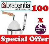 100 x 10-12L Litre Brabantia Smartfix Bin Liners Waste Bags Sacks Type C 2.2-2.6 UK Gal