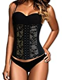 Dilanni Women's Breathable Elastic Waist Trainer Cincher XS to 6XL Lace Shapewear Steel Boned Corset Medium
