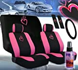 51kPNJSO7ZL. SL160  12 Pieces Universal Heart Design Car Seat Covers Set with Front and Rear Seat Covers, Steering Wheel Cover, Seat Belt Cover and 2 Ounce Purple Slice