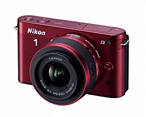 Nikon 1 J2 10.1 MP HD Digital Camera with 10-30mm and 30-110mm VR Lenses (Red)