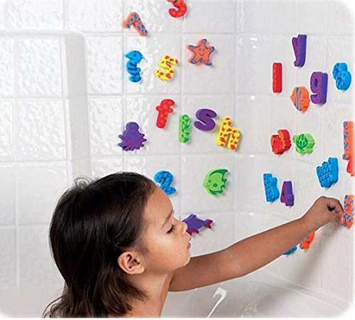 Pack of 84 pcs - Kids Educational Bathroom Toy Baby Alphabet Toys Doopo Non-toxic EVA Letters & Numbers w/ Bath Toy Suction Mesh Bag Organizer Abc Bath