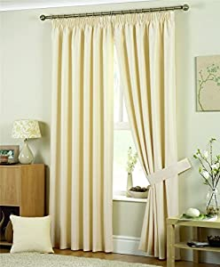 """NATURAL CREAM JAQUARD SQUARES 66x72"""" (168x183cm) PENCIL PLEAT FULLY LINED CURTAINS DRAPES from Curtains"""